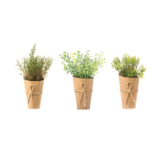 Large Artificial Plant in Paper Wrapped Pot, 3 Styles