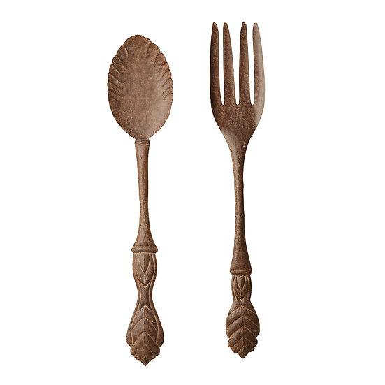 Rustic Metal Silverware Spoon & Fork, 2 Styles