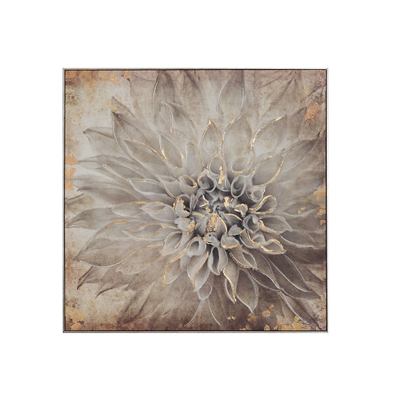 Canvas Hand-Painted Vintage Dahlia Flower Wall Art w/ Gold Foil Finish