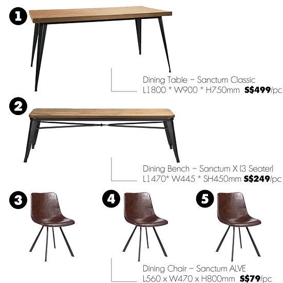 Dining Table Set – Sanctum Classic (5 pieces)