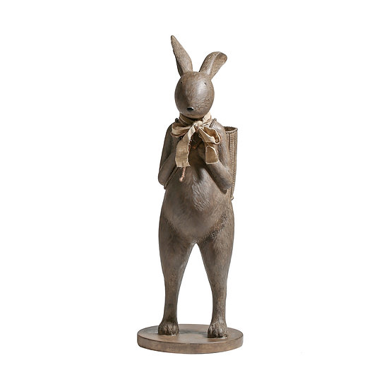 Resin Rabbit Figurine w/ Scarf & Basket, Large