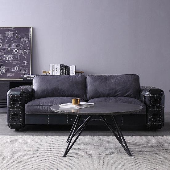 Aluminium Leather Sofa – BLACK AIRCRAFT