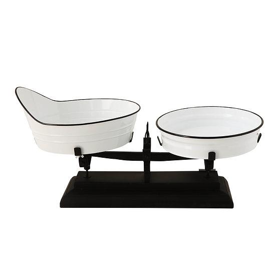 Decorative Metal Scale, White w/ Black Rim