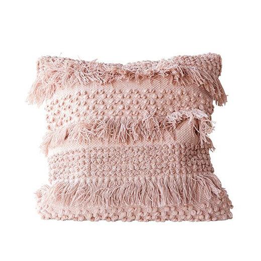 Square Cotton Fringe Cushion, Pale Pink