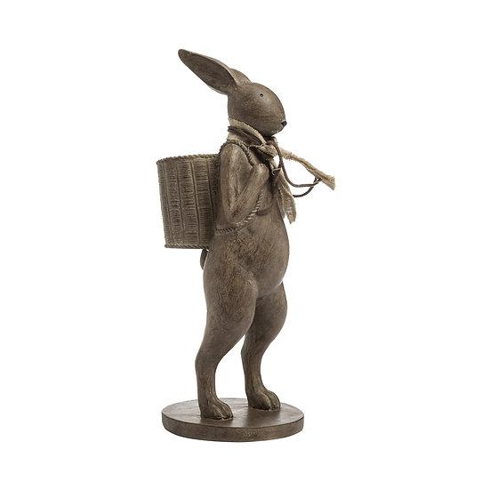 Resin Rabbit w/ Scarf & Basket, Brown