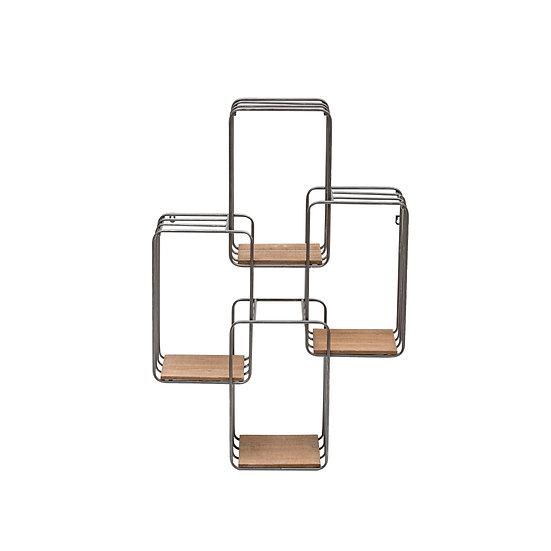 Vertical Metal & Fir Wall Shelf