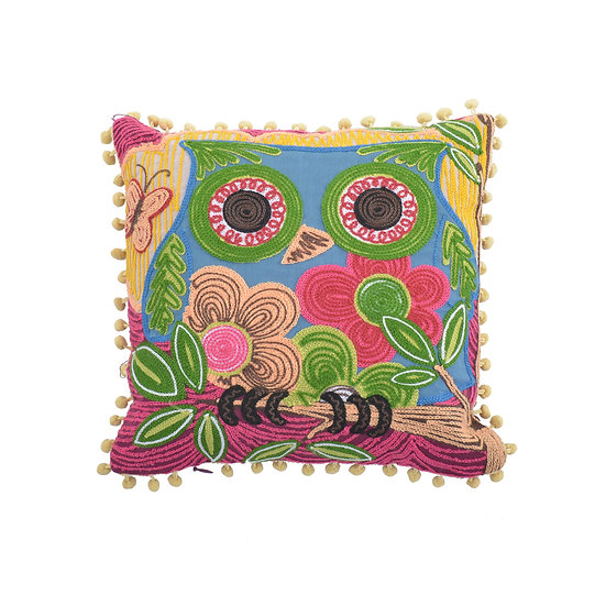 Cotton Applique Chain Embroidered Owl Cushion