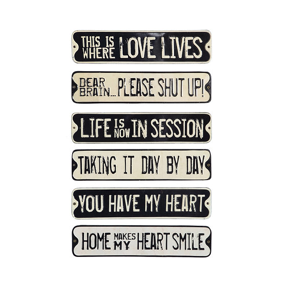 Lori Embossed Tin Wall Décor w/ Saying, Black / White, 6 Styles