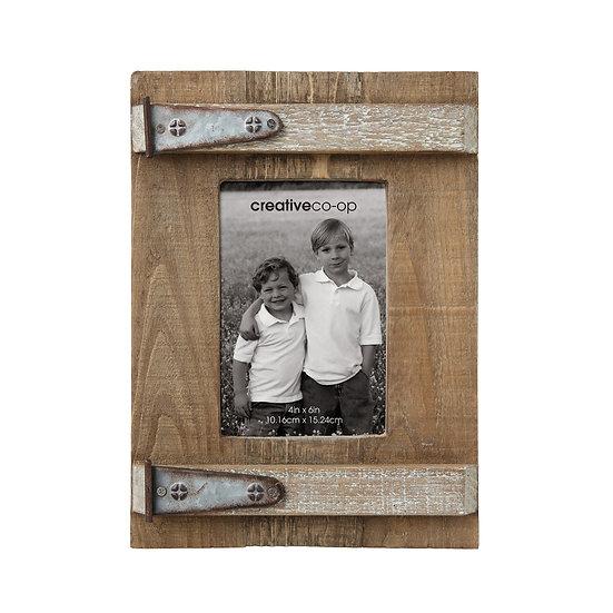 "Wood & Metal Photo Frame (Holds 4""x6"" Photo)"