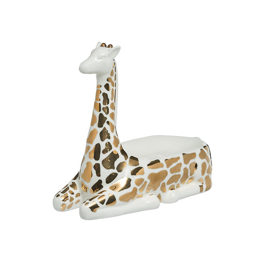 Stoneware Giraffe Shaped Soap Dish, Gold & White