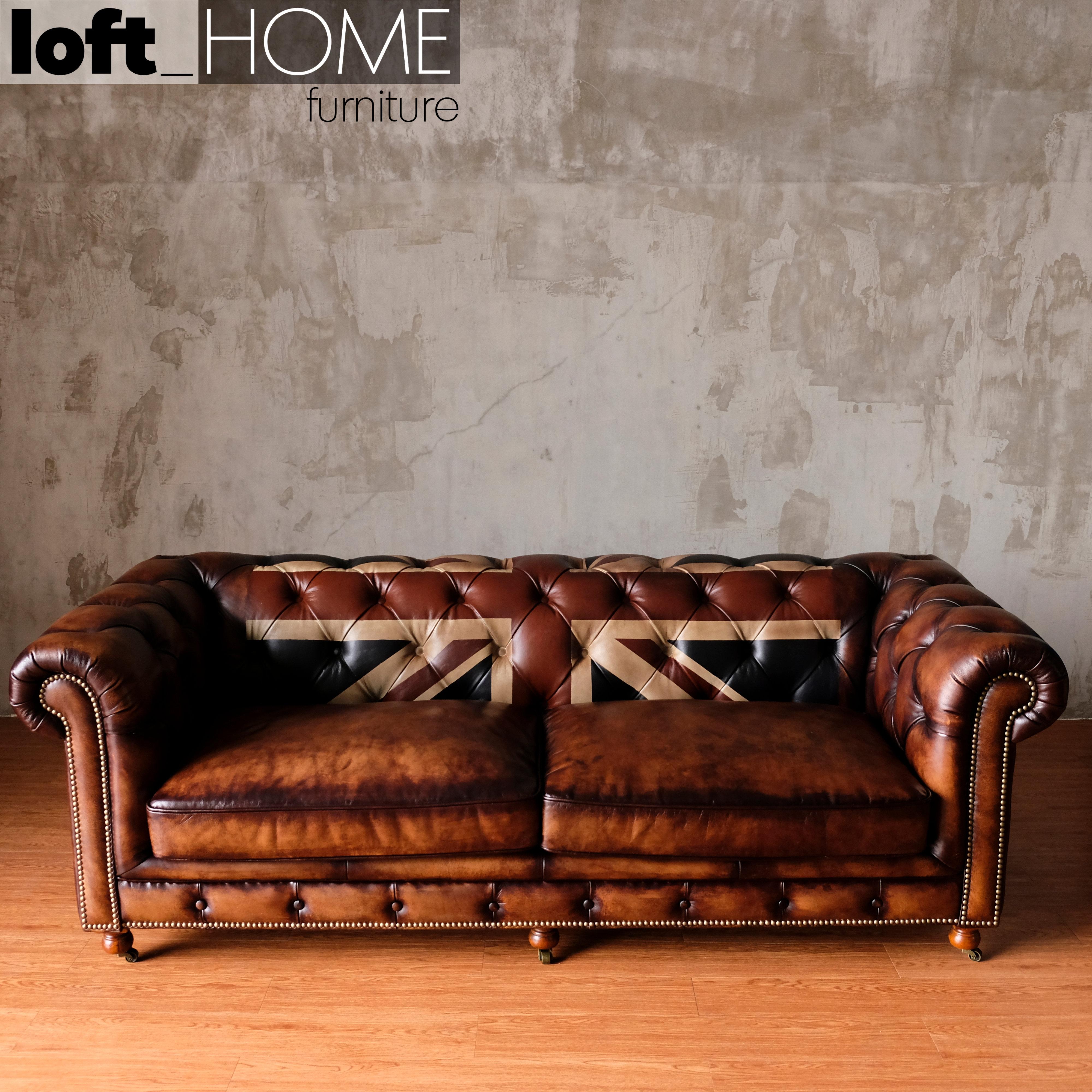 Full Genuine Leather Sofa - Chesterfield Union Jack   lofthomefurniture