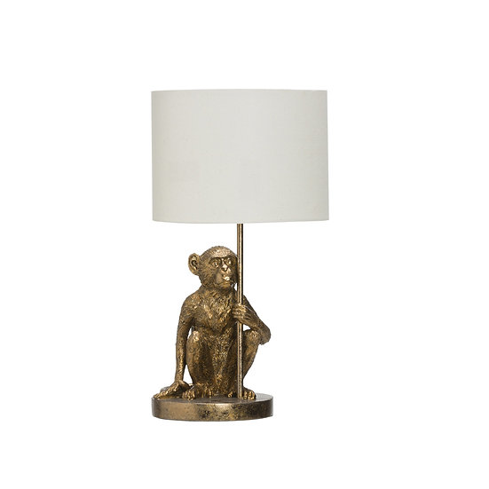 Resin Monkey Table Lamp, Antique Gold
