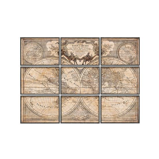 Wood Framed World Map Wall Art, Set of 9