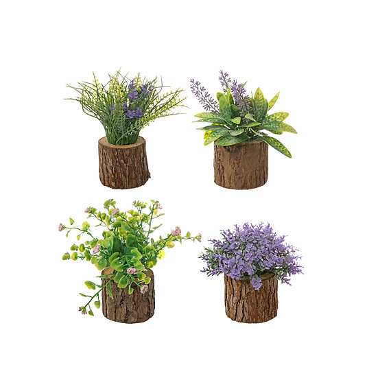 Artificial Plant on Log, 4 Styles