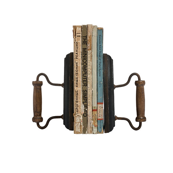 Cast Iron & Wood Bookends, Set of 2