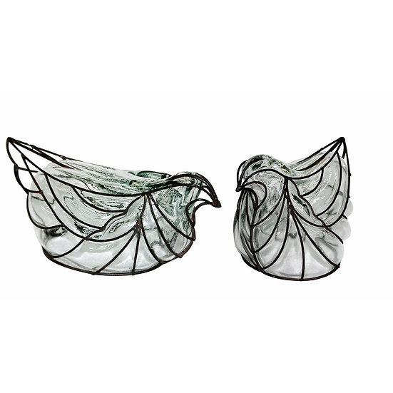Handmade Recycled Glass & Iron Wire Bird Figurine, set of 2