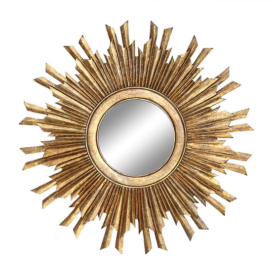 MDF Sunburst Mirror, Antique Gold