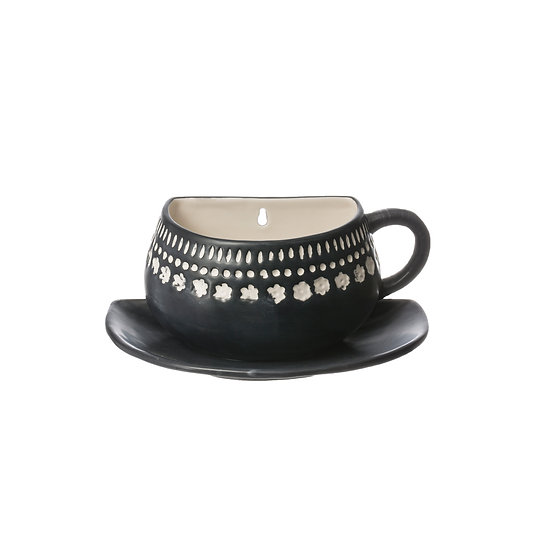 Dolomite Cup & Saucer Shaped Wall Planter, Blue