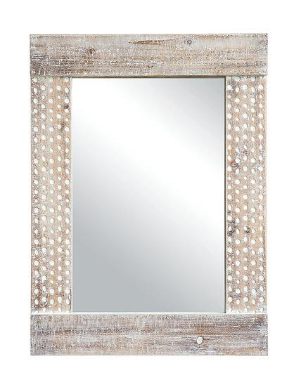 Wood Wall Mirror w/ White Wash