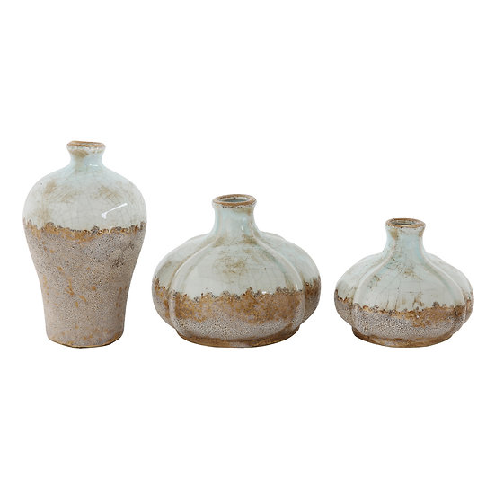 Terra Cotta Vases, Distressed Finish, Set of 3 ( Each One Will Vary )