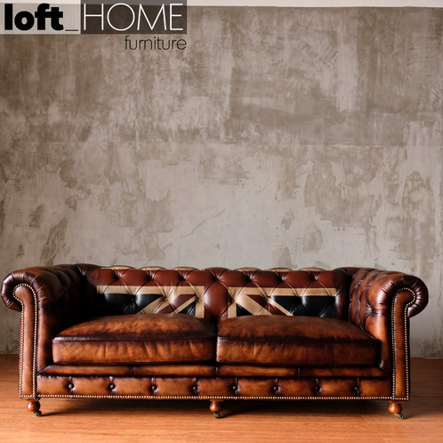 Full Genuine Leather Sofa Chesterfield Union Jack