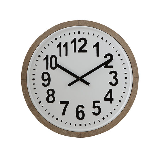 Metal & MDF Wall Clock, Distressed Finish