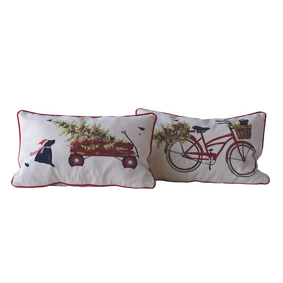Mary Cotton Cushion w/ Holiday Scene, 2 Styles ©