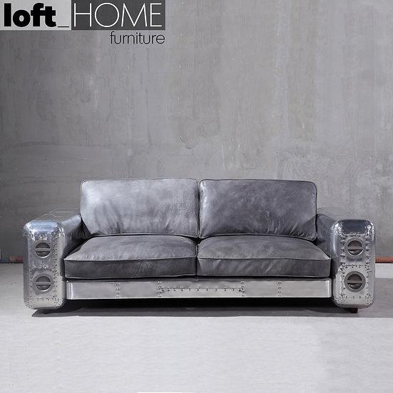 Aluminium Leather Sofa – SilverAircraft