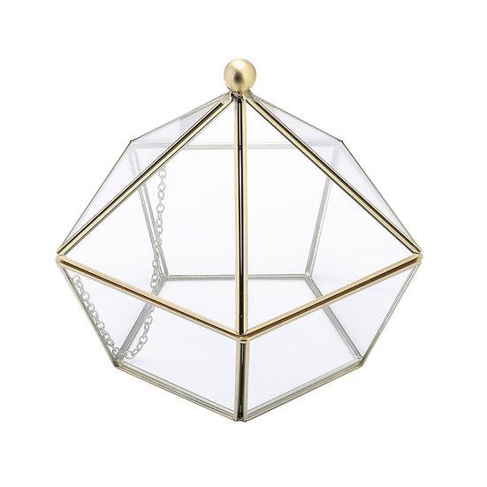 Brass Edge Diamond Shape Terrarium, Copper-plated