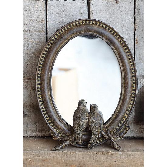Antique Bronze Resin Bird Lovers Mirror