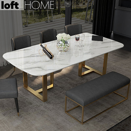 Marble / Stainless Steel Dining Table – Joshua