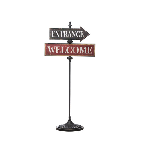 "Metal ""Welcome"" & ""Entrance"" Sign"