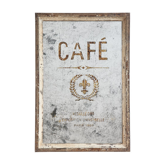 "Wood Framed Antiqued Mirror ""Café"""