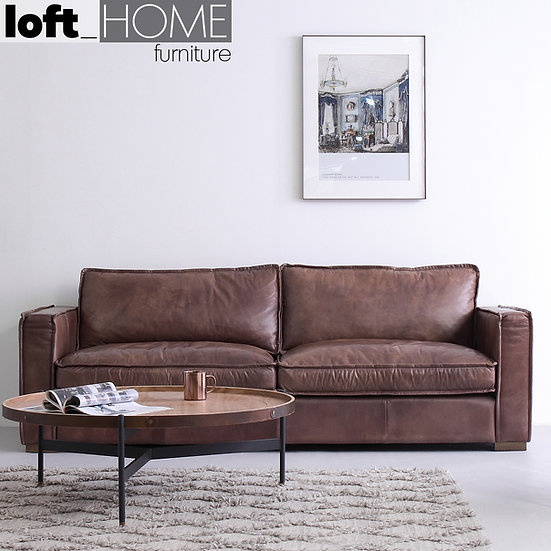 Full Genuine Leather Sofa – Brown Whisky
