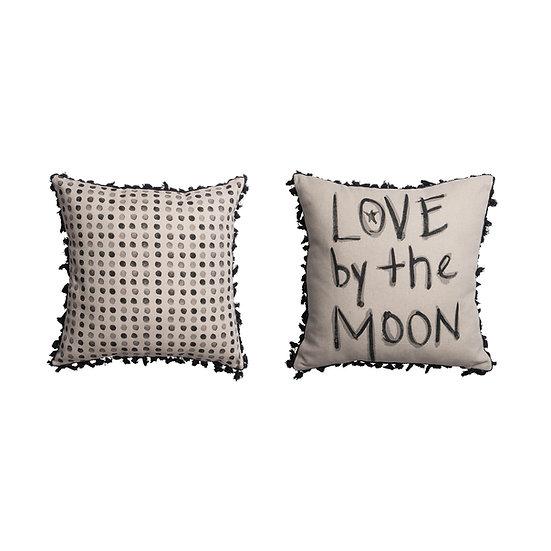 Cotton & Linen Cushion w/ Tassels, Black&Grey, 2 Styles