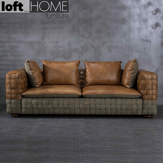 Genuine Leather & Canvas Sofa – MARTIN