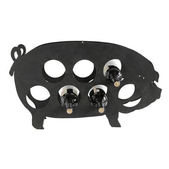 Metal Pig Shaped Wine Holder, Holds 7 Wine Bottles, Distressed Black
