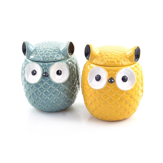 Stoneware Owl Ginger Jar, 2 Colors