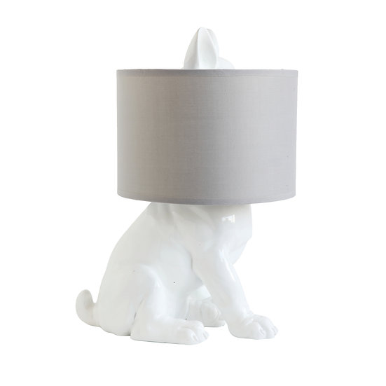 Resin Dog Table Lamp w/ Linen Shade, White (Plug Type C)