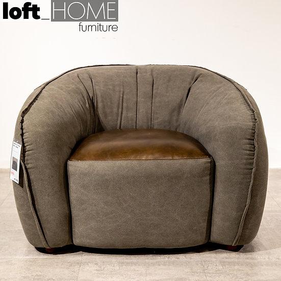 Leather & Canvas Single Sofa - BREAD