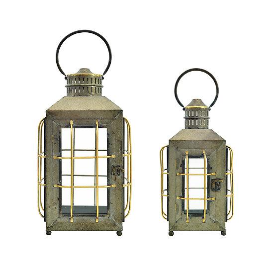 Vintage Metal & Glass Lantern(2in1 Set)