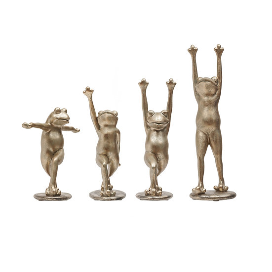Resin Yoga Frog, Antique Gold, 4 Styles