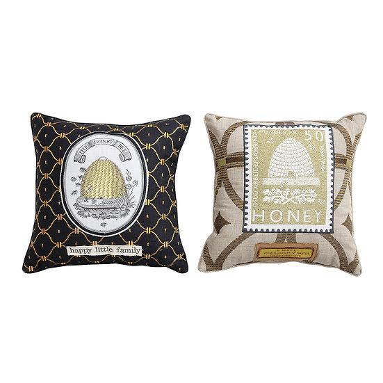 "Lori Square Cotton ""Honey"" Cushion w/ Honeycomb Embroidery, 2 Styles ©"