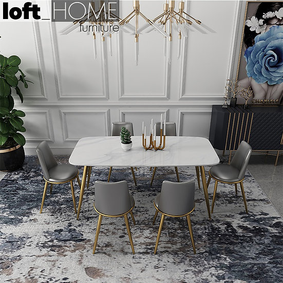 Marble / Stainless Steel Dining Table – Vincent