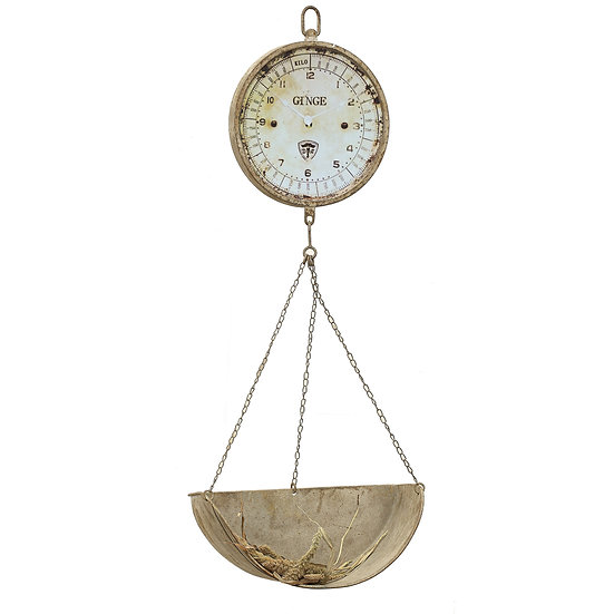 Decorative Metal Vintage Reproduction of Hanging Produce Scale Clock