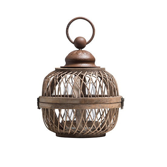 Bamboo Hanging Lantern w/ Glass Insert, Small