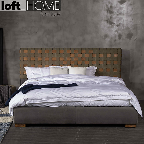 Canvas & Genuine Leather Bed Frame – CANVASGREY