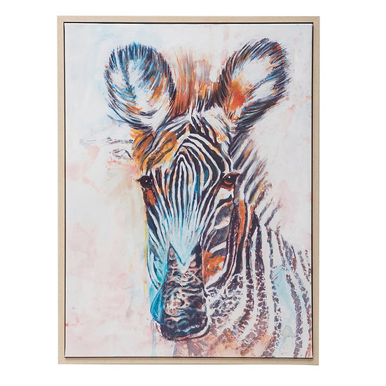Canvas Hand-Painted Wall Art w/ Zebra Image