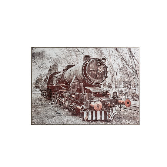 Canvas Hand-Painted Vintage Train Wall Art w/ Silver Foil Finish