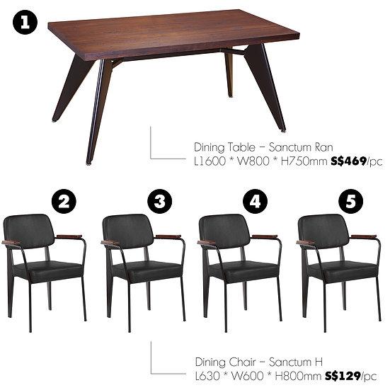 Dining Table Set – Sanctum Ran (5 pieces)